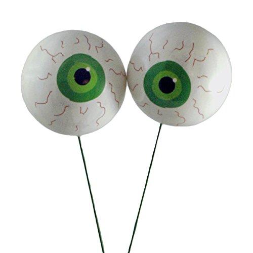 Spooky Eyeballs Green Halloween Picks - Set of 2