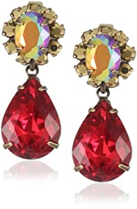 """Sorrelli """"Ruby Cocktail"""" Vintage Teardrop Red and Gold Cut Crystal Post Earrings"""