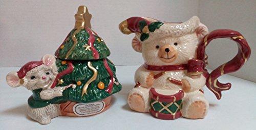 Fitz & Floyd Omnibus - Omnibus Fitz & Floyd 1995 Holiday Bears Set Sugar Bowl & Creamer