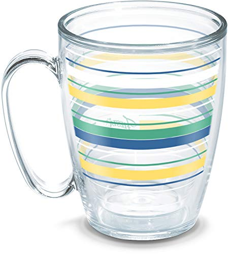 Tervis 1330538 Fiesta - Meadow Stripes Insulated Tumbler with Wrap, 16 oz Mug - Tritan, Clear