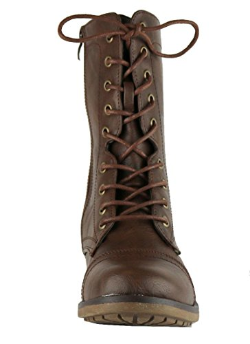 Cambridge Select Womens Combat Militaire Mi-mollet Lace Up Inside Zipper Boot Marron