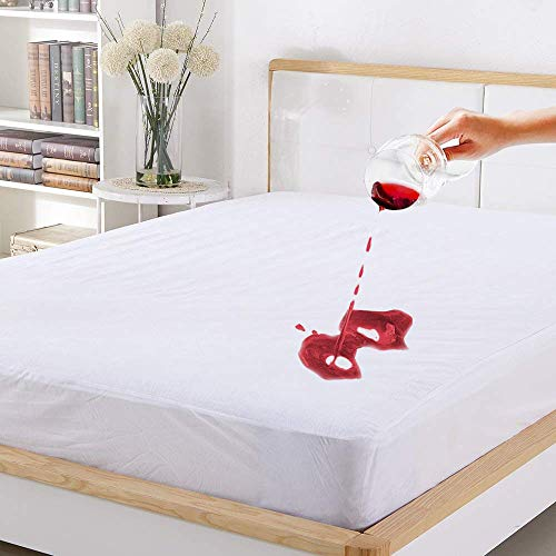 Mattress Protector FDA Registered 100% Waterproof Twin Size, Five-Sided Protection, Breathable & Machine Washable, Vinyl Free