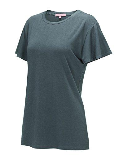 Regna X Women's Short Sleeve V Neck Loose Flowy Comfy Tunic Shirts Grey XL by Regna X (Image #1)