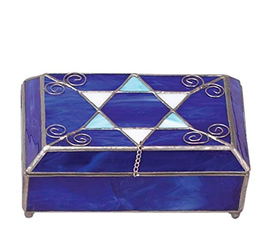 Israel Giftware Judaica Blue Star of David Stained Glass Jewelry Box - Bat Mitzvah Gift - Wedding Gift Gift