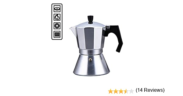 Cafetera de 6 tazas específica para placas de inducción, con fondo de acero compatible con cocinas de todo tipo: inducción, vitrocerámica, eléctricas y de gas, hornillos, café moka, espreso, italiano, mocha - 5577