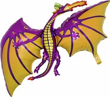 Grabo 36 Inch Purple Dragon Shaped Foil Balloon - Air Or -