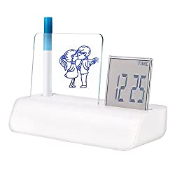 Egundo Message Memo Board Digital Alarm Clock LCD Display 4 Colors Backlight support Calendar Temperature Night Light for Study Office and Living Room