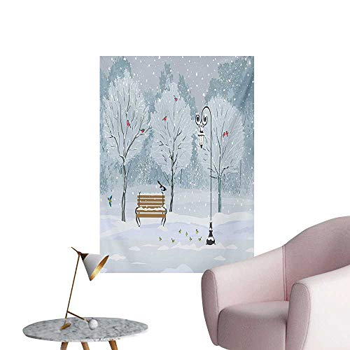 - Anzhutwelve Christmas Wallpaper Snow Falling in The Park on a Cold Winter Day Birds Lanterns Xmas Season PictureBlue White W20 xL28 The Office Poster