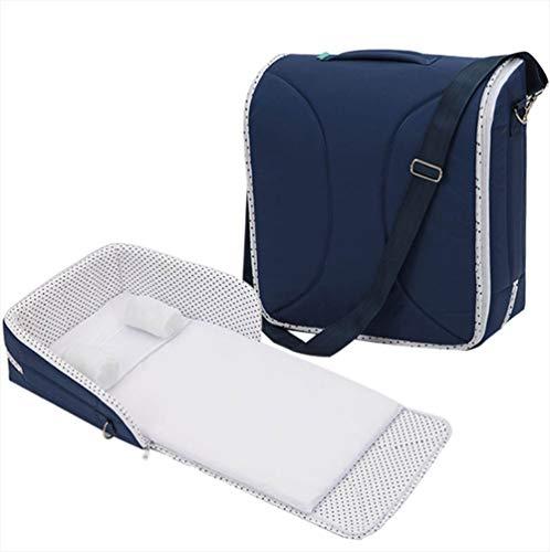 KEOA Cuna para bebé, Cuna de viaje Abatible Con colchón Lavable Suave y Acogedora(Blue)