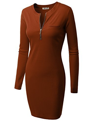 Doublju Fitted Ribbed Knit Zipper Front Mini Dress (Plus Rust Large