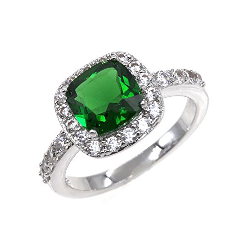 Square Emerald Rings Wedding Party Statement CZ Cocktails Gold Plated Classic Fashion Size 5 - 10 (Green, 8) (Ring Cocktail Green Stone)