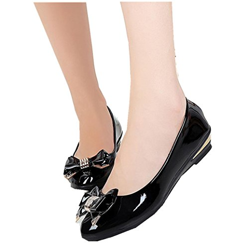 Elevin (tm) Femmes Printemps Mode Extérieur Bout Pointu Talon Plat Noeud Papillon Unique Chaussures De Cheville Noir