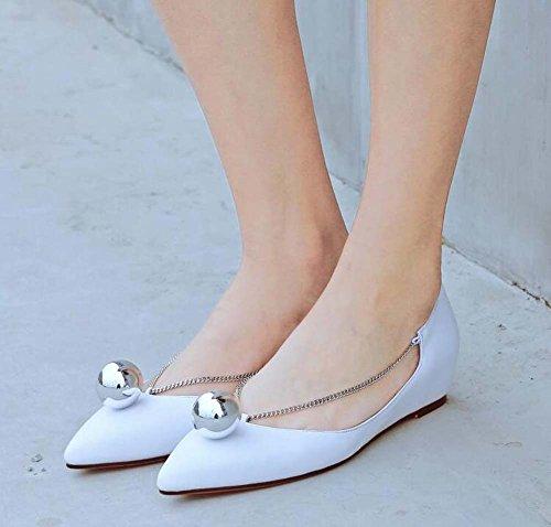 Zapatos Simple Tamaño Elegante 34 Mujeres de Color Transpirable Negro Cómodo 43 Zapatos 38 Las Bombas Tamaño Blanco Estrecha Punta de Planos Blanco gPwRX