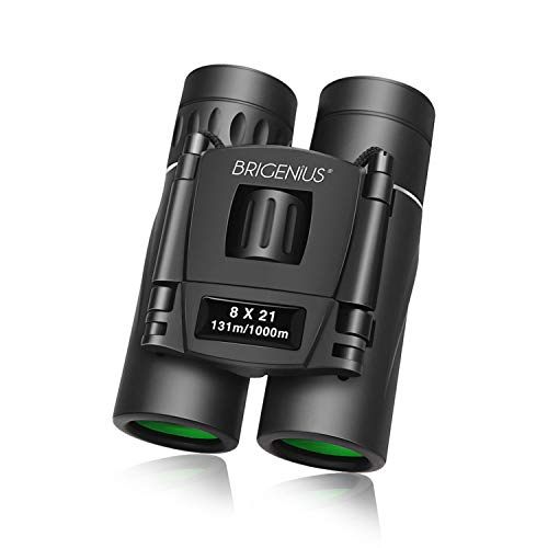 BRIGENIUS 8x21 Compact Binoculars for Concert Theater Opera, Small Lightweight Mini Pocket Folding Binoculars for Outdoor Sports Games and Concerts Travel Hiking Bird Watching Adults Kids
