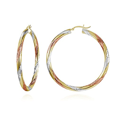 14K Gold Tri Color Polished & Diamond-Cut 3x58mm Lightweight Large Round Hoop Earrings