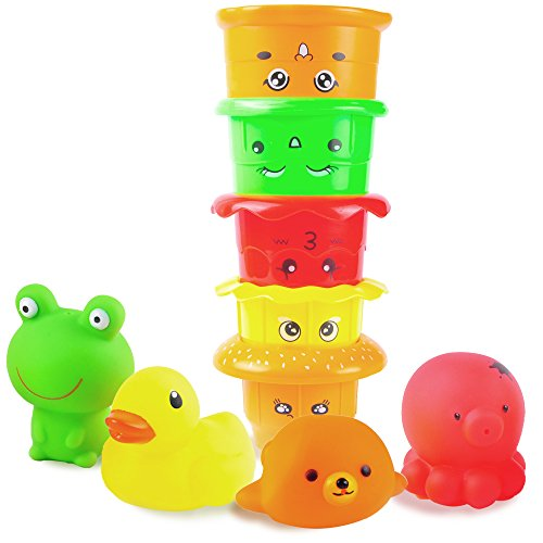Agreatlife Hamburger Stacking Cups  Waterproof Bath Toys And Nesting Cups For Babies And Toddlers