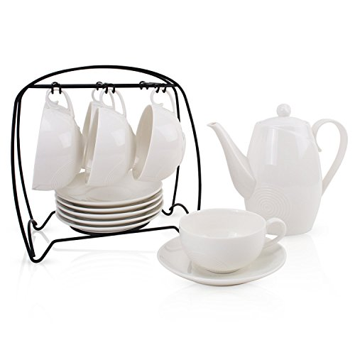 YALONG Porcelain White Tea/Coffee Set, Teapot Set 13 pcs Includes 6 Cup and Saucer, Cup Holder and Teapot for Adult, Wedding, Tea Party, Christmas