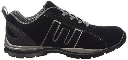 Zapatillas de seguridad para mujer, acero en la punta de los dedos, con cordones, ligeras negro/gris