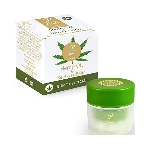 Fysio Organic Hemp Oil Beeswax Balm Body Face Moisturiser for Dry Skin   Complete Skincare Herbal Healing Ointment as Foot, Hand Cream   Relief for Itchy, Cracked, Sensitive, Irritated Skin   50ml