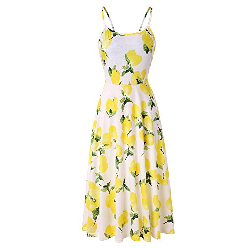 Swing Lady Floral Party Tunic Flowy On Flared Dress Strappy Sale Tops Dresses Yellow Women Chanyuhui Evening Sleeveless 60wqYRR