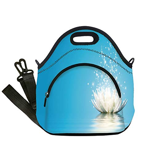 - Insulated Lunch Bag,Neoprene Lunch Tote Bags,Lotus,Mystic Lotus with Dreamlike Fairy Effects Peace Unusual Relaxing Zen Image Decorative,Petrol Blue Coconut,for Adults and children
