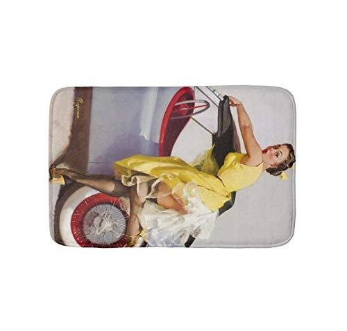 Bathlink Quick-Dry, Super Absorbent Anti-Slip Resistant Bathroom Mat Soft Bath Rug and Shower Carpet Cover Up Retro Pinup Girl (24 X 16 -