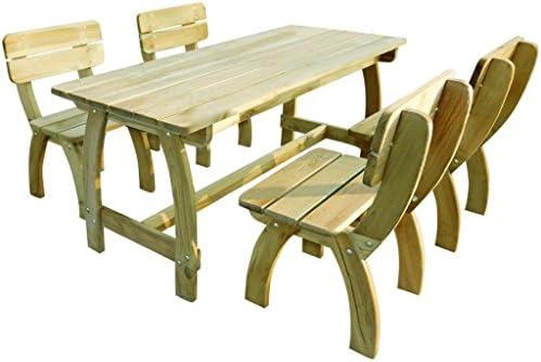 SSITG Jardín Conjunto de muebles de jardín Asiento Grupo mesa 4 sillas madera de pino: Amazon.es: Jardín