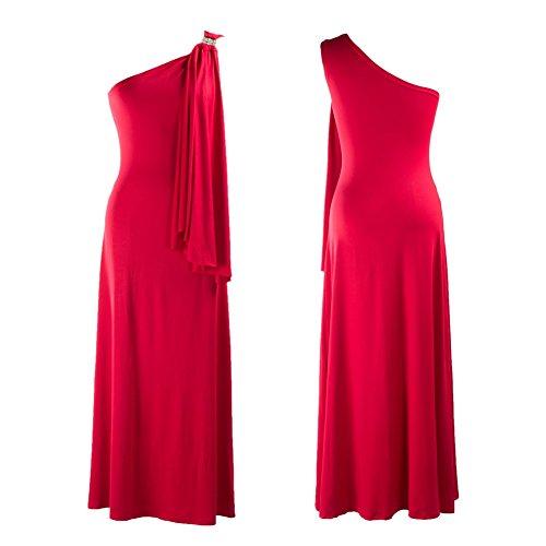 iShine Mujeres Vestidos de Fiesta Elegantes de Un Hombro Escotado por Detr¨¢s Ajustado de Largos Verano Rojo