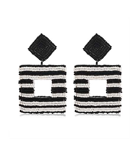 Beaded Drop Earrings Handmade Seed Bead Square Hoop Dangle Earrings Bohemia Statement Earring Studs for Women Girls - Womens Square Whimsical