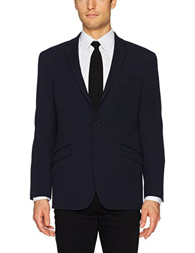 Kenneth Cole REACTION Men's Half Lined Tic Knit Slim Fit Sportcoat, Black, 36 Short Lined Tailored Blazer
