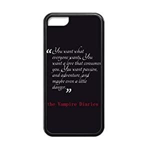 Black, 5C Case - The Vampire Diaries Damon Photo Design Durable Rubber Tpu Silicone Case Cover For Apple iPhone 5C
