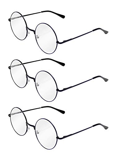 Teemico 3 Pairs of Wizard Glasses Round Wire Costume Glasses Accessories for Theme Party, Halloween Party, Magic Show Dress Up, Black ()