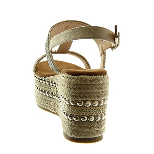 Femme Diamant Lanière Mule Angkorly Mode Talon Cheville 5 Beige Corde Strass Plateforme 8 Compensé cm Sandale Salomés Clouté Chaussure Plateforme qffvwS8xI