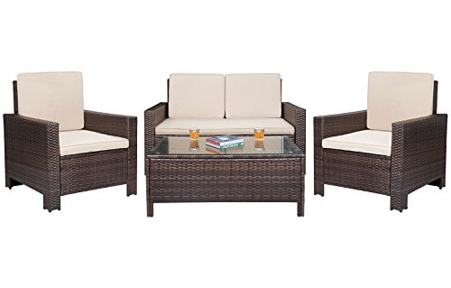 Patio Furniture Sets Clearance 4 PC Wicker Outdoor Sofa Set Rattan Sectional Sofa,for Backyard Porch Garden Poolside Balcony with Beige Cushion (Brown) (Seating Backyard Area)