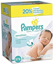 Baby Wipes, Pampers Sensitive Water Based Baby Diaper Wipes, Hypoallergenic and Unscented, 8 Refill Packs (Tub