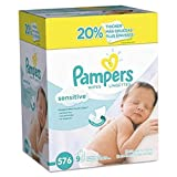 Baby Wipes, Pampers Sensitive Water Based Baby Diaper Wipes, Hypoallergenic and Unscented, 8 Refill Packs (Tub Not Included), 72 each, Pack of 8 (Packaging May Vary)