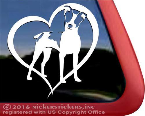 NickerStickers Rat Terrier Love Heart Vinyl Dog Window Decal - Tipped Ears