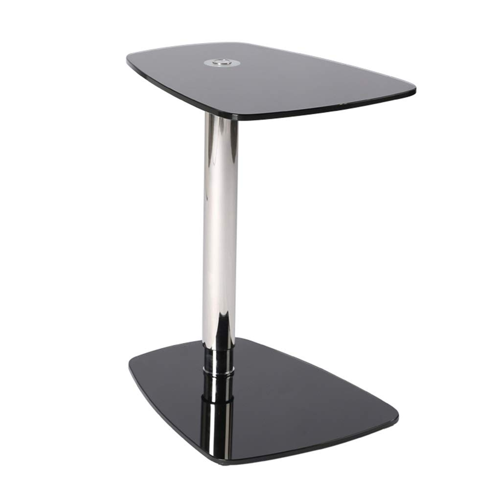 LQQGXLBedside Table Single Button Lift Tempered Glass Coffee Table trapezoidal Desktop Stainless Steel Pillar Living Room Bedroom Side Table Small Side Table by LQQGXL