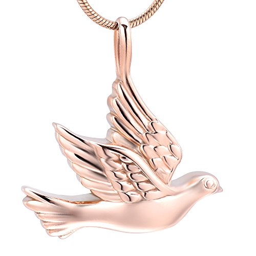 Animal Peace Dove Cremation Urns Pendant Stainless Steel Bird Keepsake Jewelry Ashes Urn Pendant for Memorial Gift, Free 20 Inch Chain+Fill Kit (Rose gold)