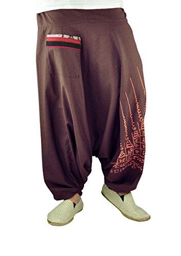 pantalones bombachos de entrepierna baja para hombres y mujeres con tatuaje espiritual, pantalones cagados como ropa hippie de virblatt S - L– Gao Yord Marrón