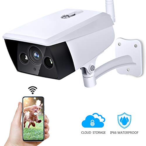 Outdoor Security Camera, KAMTRON Wireless IP Camera 2.4G WiFi 1080P IP66 Waterproof Night Vision Surveillance System with Motion Detection, Encryption Cloud Storage, Two-Way Audio – iOS, Android App