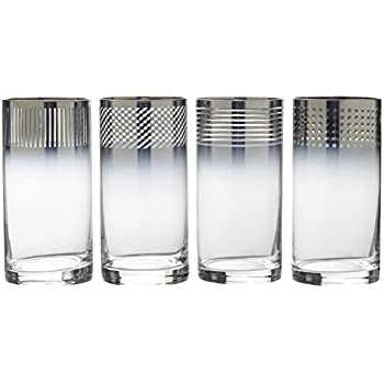 Set of 4 Mikasa Cheers Metallic Ombre Highball Glass 18-Ounce