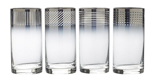 (Mikasa Cheers Metallic Ombre Highball Glass, 18-Ounce, Set of 4)