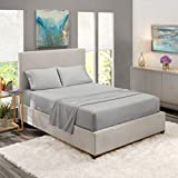 Nestl Bedding Soft Sheets Set - 4 Piece Bed Sheet Set, 3-Line Design Pillowcases - Easy Care, Wrinkle Free - 10'-16' Good Fit Deep Pockets Fitted Sheet - Warranty Included - King, Silver
