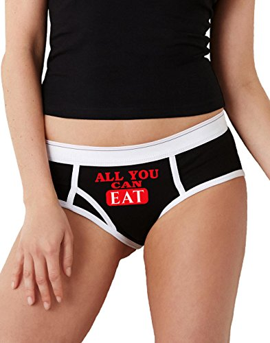 Sexy Baby Bunny All You Can Eat Boyfriend Brief Underwear for Women, Black & -