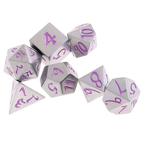 MagiDeal 7Pcs Nickel Alloy Dice Polyhedral D4-D20 Die for Party MTG Gaming Prop Purple by MagiDeal