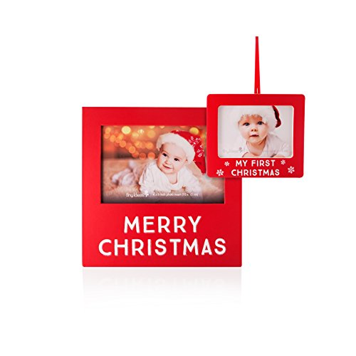 tiny ideas matching frame and photo ornament set merry christmas frame and babys my