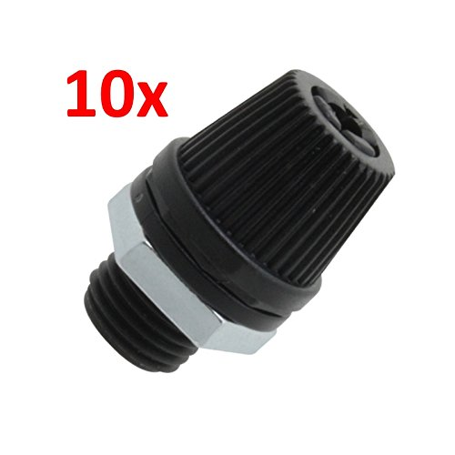 10 Stü ck! Kabelzugentlastung mit Verschraubung, Metallmutter M10x1, schwarz WITTKOWARE