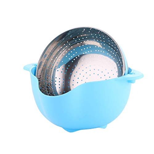 - Kitchen Stainless Steel Washing Basket Fruit and Vegetable Washing Basket Round Fruit Bowl (Color : Blue)