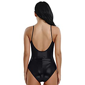 Feeshow Womens Metallic Camisole Dance Leotard Bodysuit One Piece Swimsuit